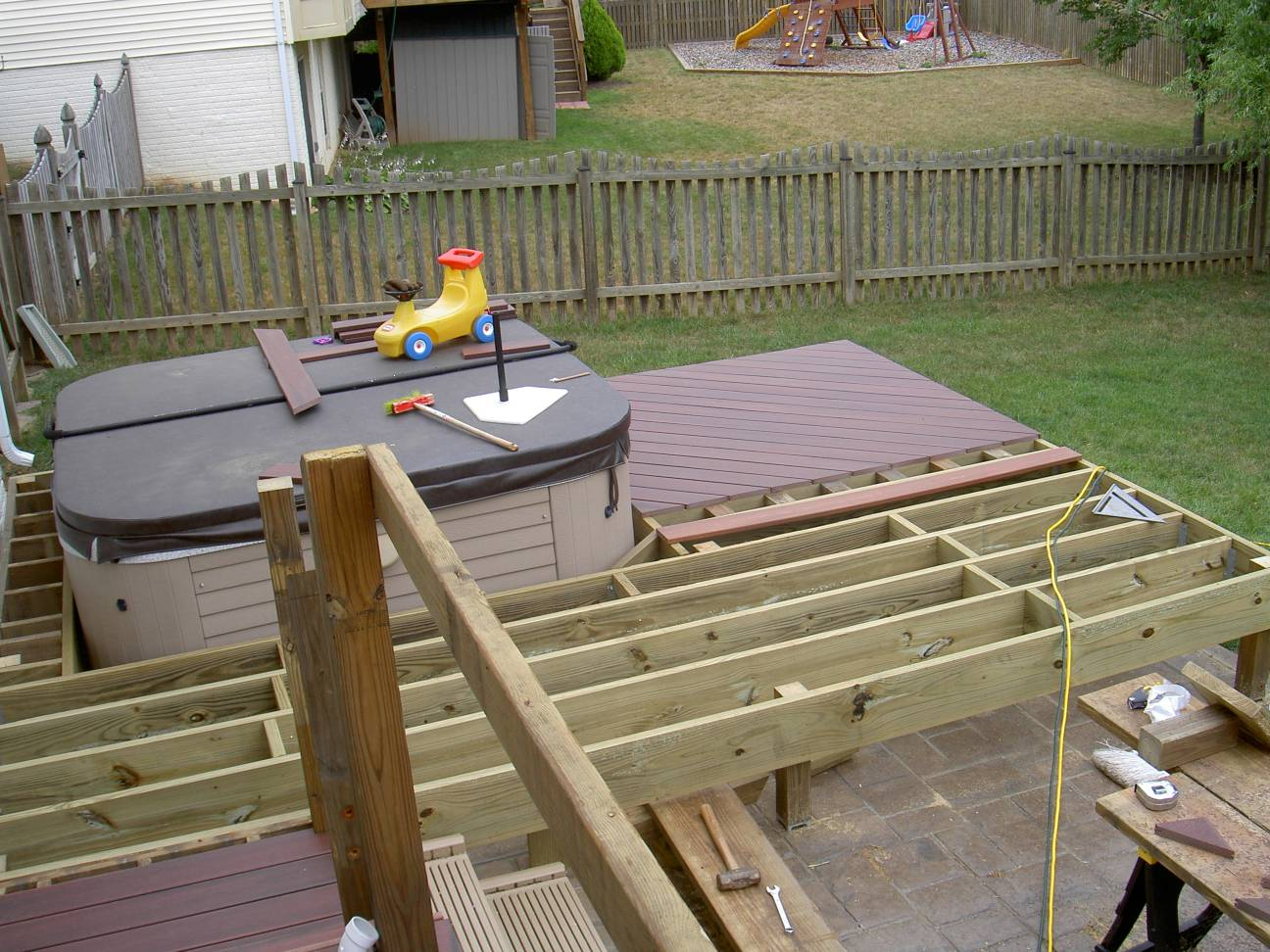 The ayrlee house deck remodeling project for Hot tub deck plans